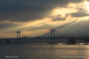 Scenic view to the west from Dongbaek - Gwangali (Kwangali) Bridge
