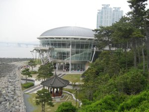 Up close view of the APEC House on Dongbaek Island in Busan