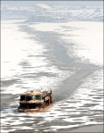 Ferry on the icy Han River